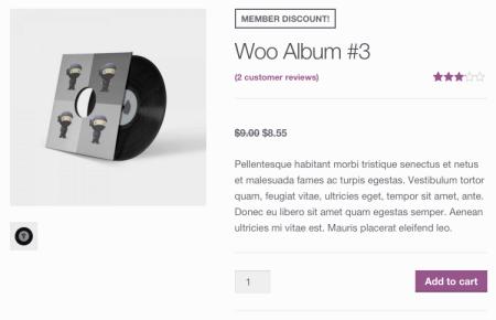 WooCommerce Purchasing Club: member discount shown