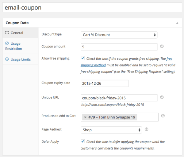 WooCommerce URL Coupons email list coupon