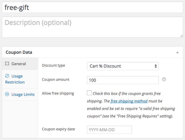 WooCommerce Free Gift Discounts: cart coupon