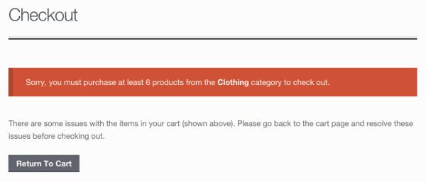 WooCommerce category minimum notice