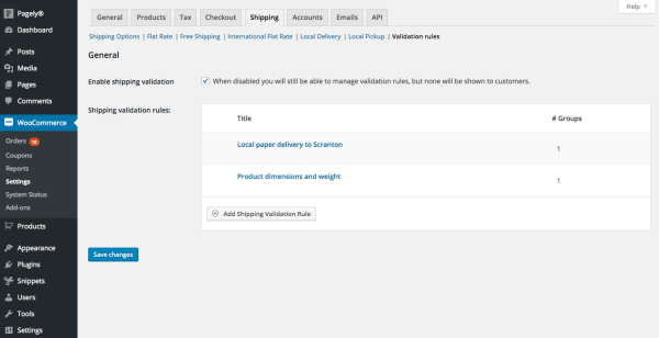 overview shipping validation