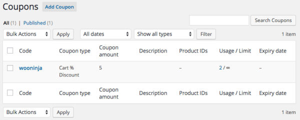 WooCommerce coupon usage count