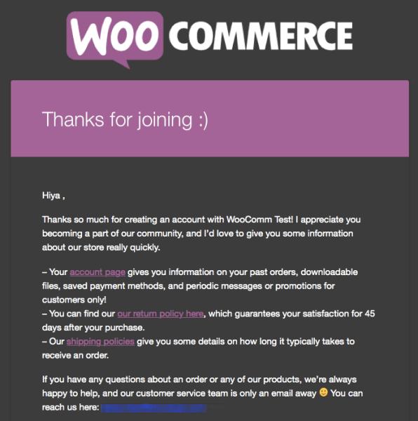 WooCommerce New Customer: AutomateWoo Email 1 example