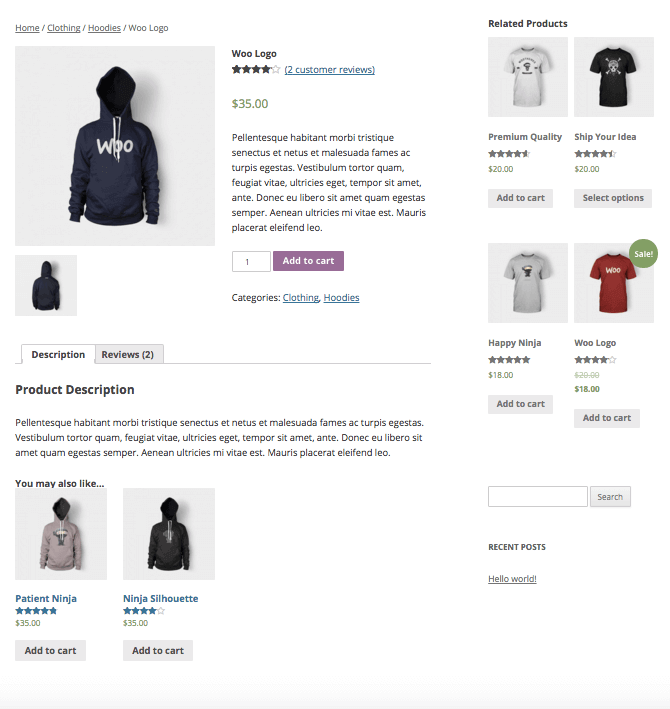 WooCommerce Related Products widget display