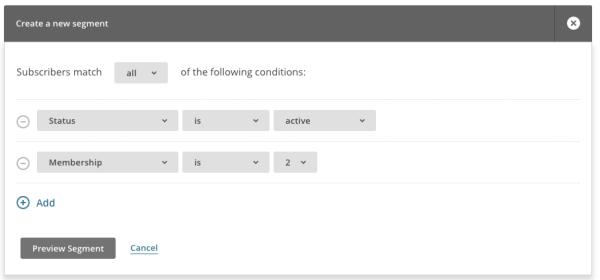 MailChimp active membership plan segment