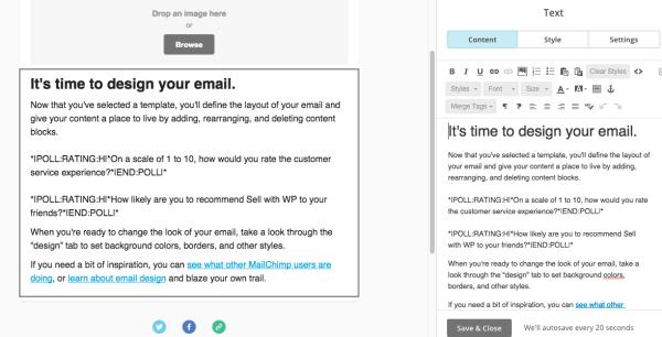 build mailchimp embed polls