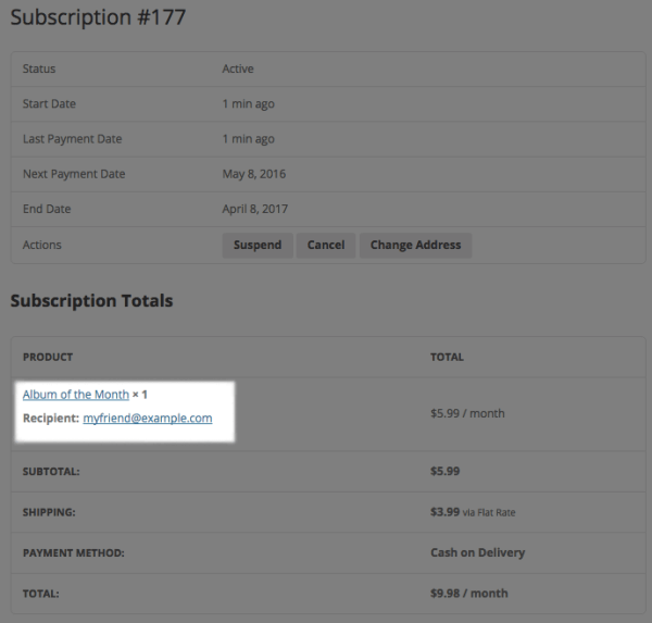 WooCommerce Gift Subscriptions: purchaser view