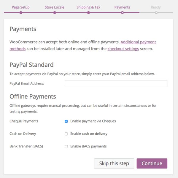 WooCommerce 2.6 Review: WooCommerce 2.5 wizard - payments