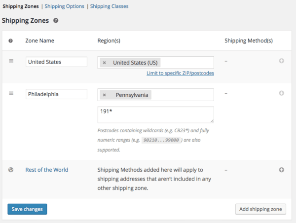 WooCommerce 2.6 Review: add shipping zones