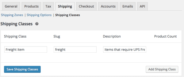 WooCommerce Shipping Zones: Add shipping class