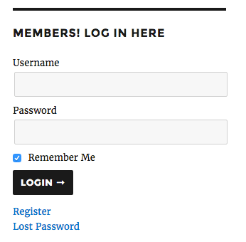 Member Sidebar Login: logged out widget