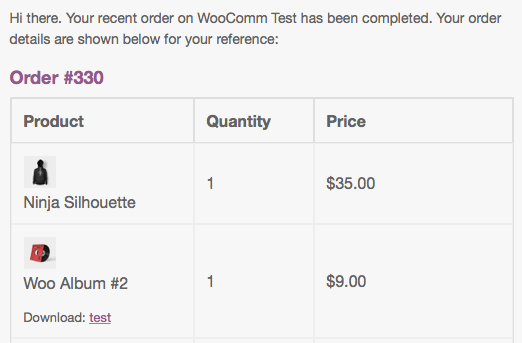 WooCommerce Emails: order email item photos displayed