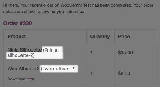 WooCommerce Emails: order email item SKUs displayed