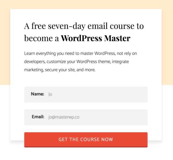 A customized email signup box in action
