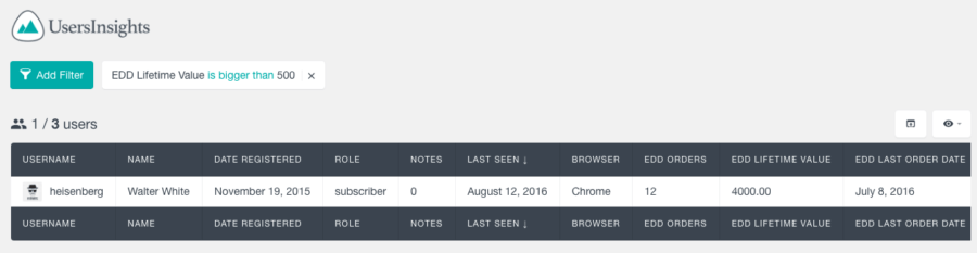 Users Insights Review: apply a filter