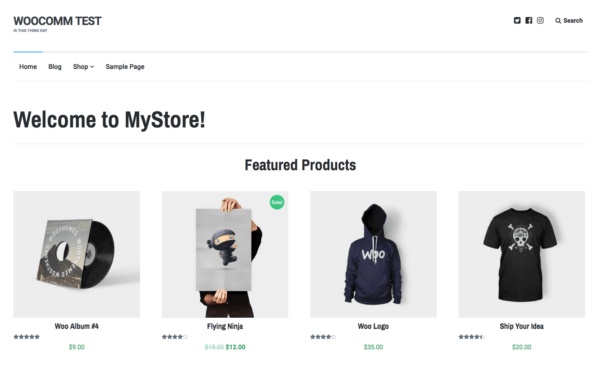 Lenscap Review: WooCommerce Homepage sample