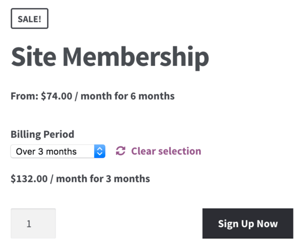 WooCommerce Memberships Payment Plans: Subs variation display 1