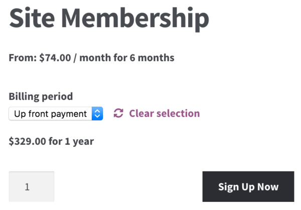 WooCommerce memberships payment plans: up front payment display