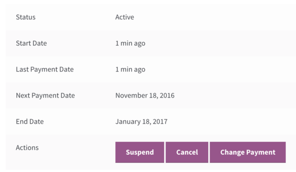 WooCommerce Memberships Payment Plans: SATT subscription info