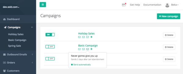Jilt app: view campaigns