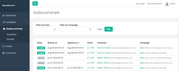 Jilt app: view outbound emails