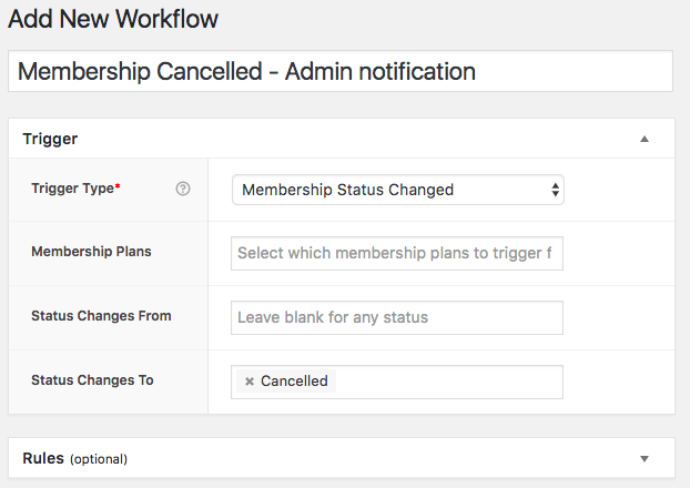 AutomateWoo: Membership Cancelled Trigger