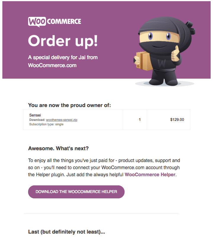 order confirmation email
