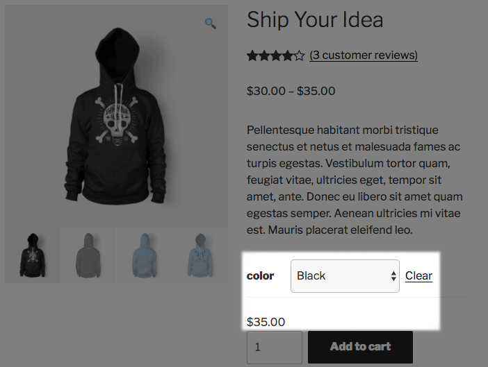 WooCommerce Variable Product Stock Display - after