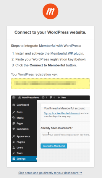 membership sites with memberful registration key