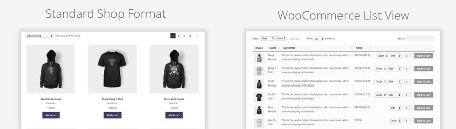 WooCommerce List View: Compare