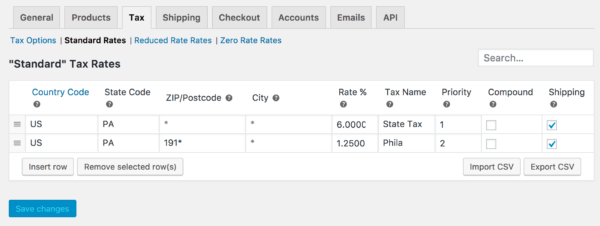 WooCommerce 3.0 Review: 2.6 tax rates