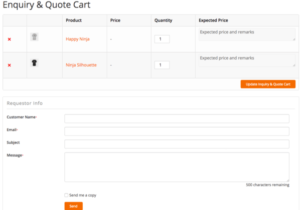 product enquiry cart page