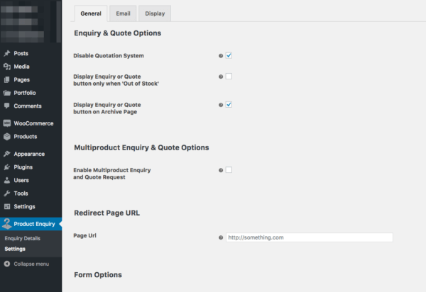 product enquiry general settings